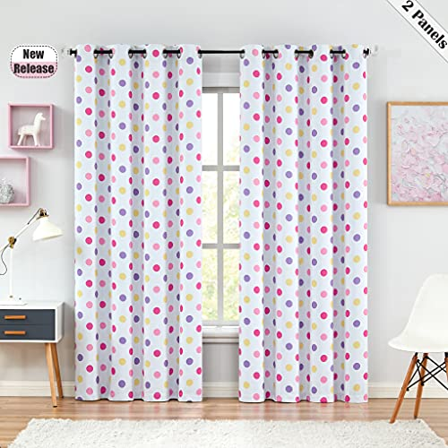 """Beauoop Polka Dot Full Blackout Window Curtain Panels Girl Kid Nursery 63 Inch Thermal Insulated Energy Efficient Drapes for Bedroom Living Room Grommet Window Treatment, 2 Panels, 52"""" W, White/Pink"""