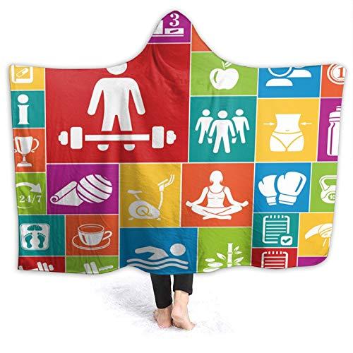 YOUMEISU Manta con Capucha,Impresión de Salud de Iconos de Colores de Fitness,Mantas con Capucha Manta Cálida Invierno 130x150cm