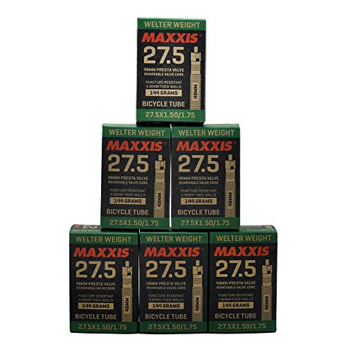Maxxis Welter Weight 27.5 x 1.50-1.75 48mm Presta FV Bike Inner Tube, 6 Pack, STB2179-6