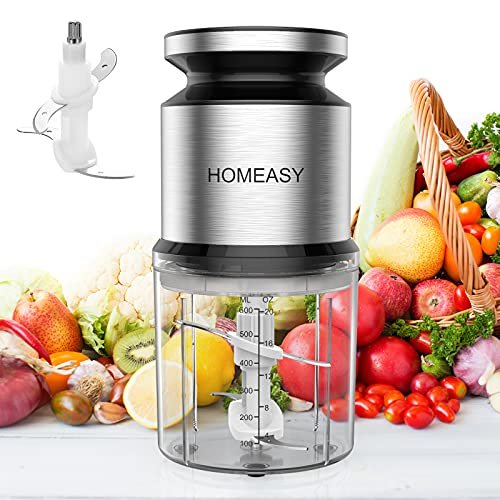 Homeasy Food Processor Small, Meat Grinder Mini Chopper 600ml Stainless Steel Food Chopper for Salad, Sauces, Vegetables, Meat, Fruits and Nuts, 300W and 4 Durable Sharp Blades