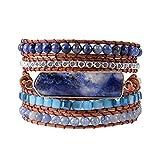 YGLINE Gems Boho Leather Wrap Bracelet for Women Handmade Healing Crystal Beaded 5 Strands wrap | Bohemian Jewelry Collection