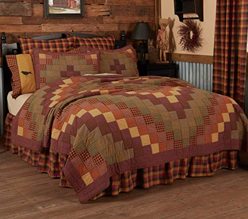 VHC Brands Heritage Farms King Quilt 105Wx95L Primitive Country Patchwork Design, Burgundy
