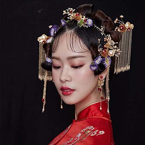 SDLAJOLLA Conjunto clássico de luxo para noivas, coroa de fênix, estilo chinês, acessórios de cabelo retrô para casamento feito à mão, tiara de noiva para casamento e noivado