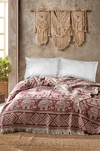 BOHORIA® Premium Tagesdecke Bali - Bettüberwurf Wohndecke Wendedecke Kuscheldecke Sofadecke mit Muster | extra-groß 220 x 240 cm (Elephant Mahogany)