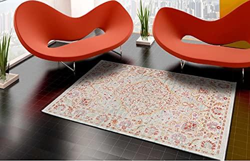 Alfombra de Salón Frise Pelo Largo Tupido Modelo Diseño Persa Decoración Oriental Persa (120_x_165_cm)