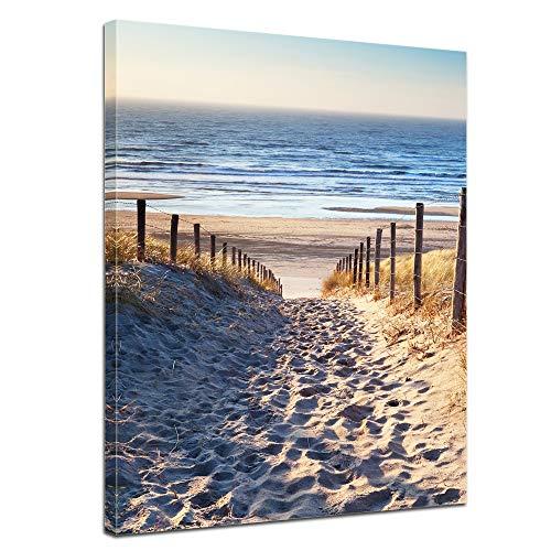 Bilderdepot24 Bild auf Leinwand | Schöner Weg zum Strand H-III in 60x80 cm als Wandbild | Wand-deko Dekoration Wohnung modern Bilder | 201095