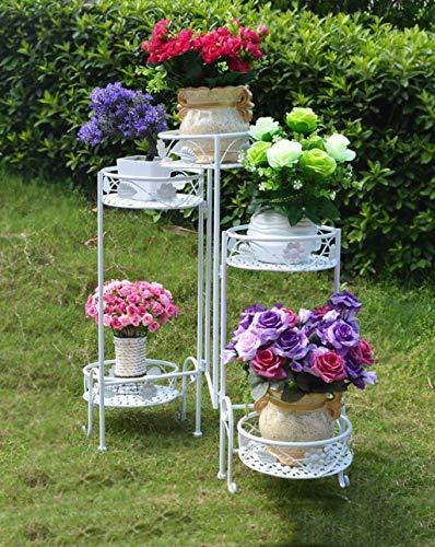 Support à plantes Décoration de jardin pliant cinq étages fer fleur rack Pastoral Balcon étagères Bonsai Antique Salon de pot de fleur Cadre d'angle de fer du plateau (Couleur: C, Taille: 93 * 71cm),