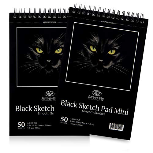 Art-n-Fly Lot de 2 Carnets de Dessin A5 avec Pages Noires, Papier perforé Noir Vif à Spirales - 100 Feuilles au Total