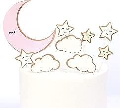 CheeseandU 36Pcs Moon Star Cupcake Toppers Good Night Moon Star with Cute Eyelash Cloud Cake Picks for Kids Birthday Party Baby Shower Gender Reveal Wedding Eid Mubarak Party Decorations,Pink