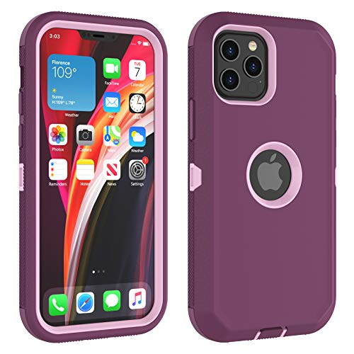 Thybx Compatible with iPhone 12/ iPhone 12 Pro Case 6.1 Inch (2020), [Drop Protection] Full Body Shock Absorbing Grip Plastic Bumper TPU 3-Layers Durable Phone Sturdy Hard Cover [Wine Red]