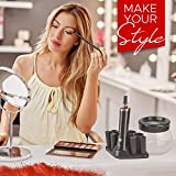 Makeup Brush Cleaner and Dryer Premium Quality Portable Electric Cleaning Tool, Cosmetic Brush Cleaner & Drying Tools with 8 Brushes Holder for Different Sized Brushes