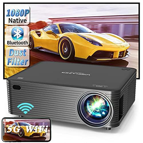 """WISELAZER Proiettore Wifi Bluetooth Videoproiettore,Home Cinema Theater 9500 Lumen Proiettore Full HD 1080P Nativo,Supporto 4K Schermo 300"""" per Smartphone, PC, TV-Box, HDMI(Black)"""