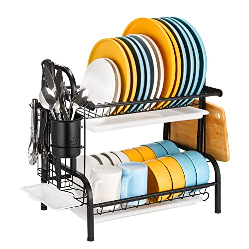 Dish Drying Rack, 2 Tier Stainless Steel Dish Rack with Drainboard, Utensil Holder, Cutting Board Holder, Large Rust-Proof Dish Drainer for Kitchen Counter, Black