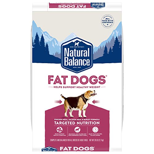 Natural Balance Fat Dogs Low Calorie Dry Dog Food, Chicken Meal, Salmon Meal, Garbanzo Beans, Peas & Oatmeal, 28 Pounds (Packaging May Vary)