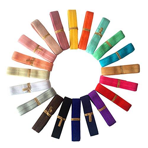 LaRibbons 5/8' Fold Over Elastic Stretch Foldover FOE Elastics for Hair Ties Headbands ( 20 Colors by 1 Yard )