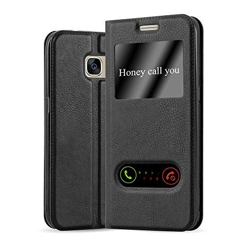 Cadorabo Coque pour Samsung Galaxy S7 en Noir COMÈTE - Housse Protection avec Stand Horizontal et Deux Fenêtres - Portefeuille Etui Poche Folio Case Cover