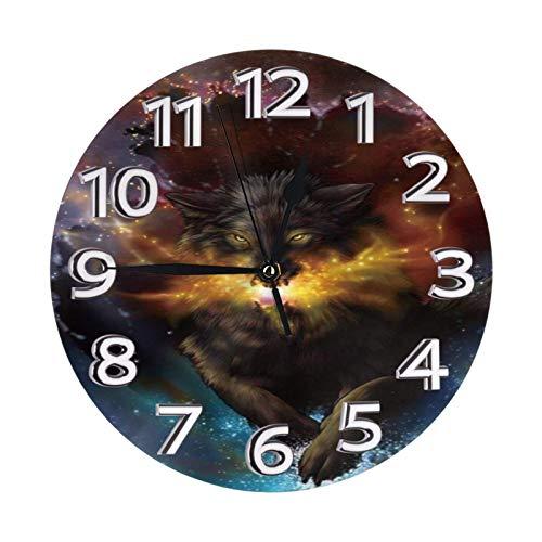 ZCHW Reloj de Pared Redondo Wolf Galaxy Fire Reloj de PVC Reloj silencioso sin tictac Reloj de Pared Circular Decorativo para Restaurante Oficina Escuela Decoración del hogar