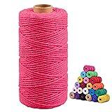 Macrame Cuerda de Algodón Hilo Macrame Cordel 3mm x 100M para Manualidades, Decoración, Bricolaje, Envolver Regalos - Rosa rojo