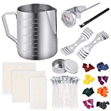 Sntieecr 113 PCS Candle Making Kit with 8 Colors Wax Candle Dye, 550ml Candle Pouring Pot, Candle Wicks, Candle Wicks Sticker, 3-Hole Candle Wick Holder, Candle Tin Box and Thermometer for DIY Candles