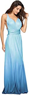 Women Transformer Tie Dye Convertible Multi Way Wrap V-Neck Wedding Bridesmaid Dress Halter Evening Cocktail Party Maxi Gown