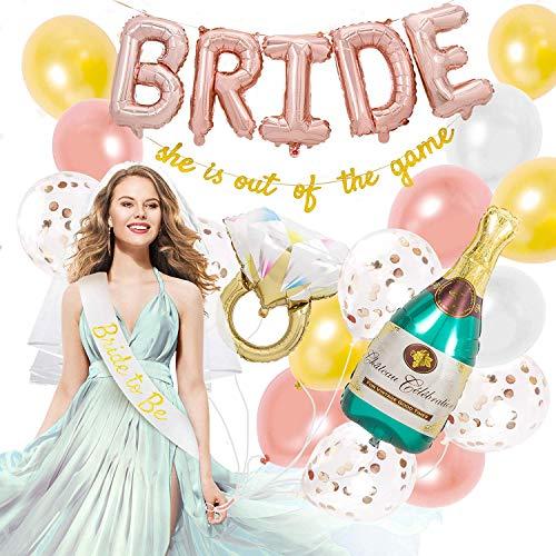 FUNCUBE vrijgezellenfeest decoratieset, bruid to Be JGA ballonnen met grappige banner, bruidssluier sjerp, fles folieballonnen, 3D diamond ring, roségoud latex ballonnen voor bruidsdouche party