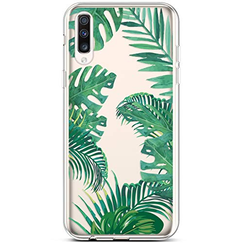 Coque pour Samsung Galaxy A50 Coque Transparente Motif Jolie Fleur Animé Housse de téléphone en Silicone Gel TPU Souple Ultra-Mince Cristal Clair Soft Case Étui pour Galaxy A50,Paume