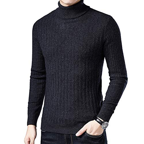 BQSWYD Men's Long Sleeve Sweatshirt Autumn Winter Men's Sweater Men's Turtleneck Solid Color Casual Sweaters Men's Slim Fit Brand Knitted Pullovers,Gray,L