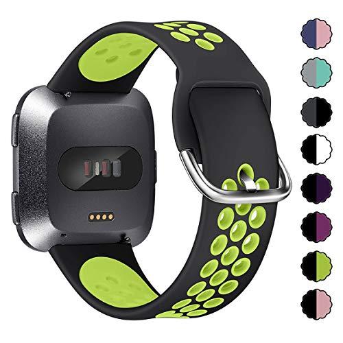 XIMU Kompatibel mit Fitbit Versa Armband & Versa Lite Armband, Silikon Verstellbarer Gurt Sportgurt Armband Ersatzzubehör Kompatibel Damen Herren (Schwarz Grün, L)