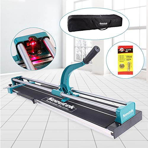 Manual Tile Cutter With Tungsten Carbide Scoring Wheel for Porcelain Ceramic Floor Tile W/Adjustable Laser Guide Bonus Spared Cutting Wheel & Storage Bag