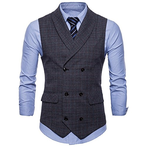 GWELL Herren Anzugweste English Style Kariert Slim Fit Business Basic Casual Weste Zweireiher Dunkelgrau XXL