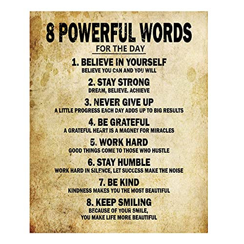 Motivational Quotes 8 Powerful Words for the day Poster Thick Cardstock Paper, Ready to be Framed 11  x 14  inches Inspirational Wall Art Print Positive Affirmation Pictures for Bedroom Décor, Gym, Home, Office Décor-Old Paper Design (2-Pack)