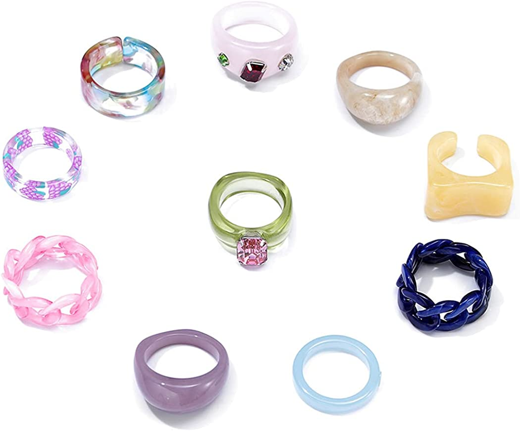 Formery Colorful Plastic Chunky Rings Rhinestone Resin Ring Y2k Acrylic Rings Pack Square Gem Stackable Ring Beach Daily Jewelry for Women and Girls(10pcs)