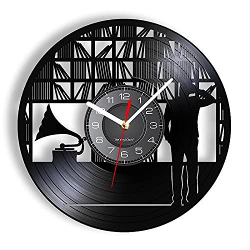 LIMN Orologio da Parete da 12 Pollici Orologio da Parete da Studio Realizzato in Vero Vinile, grammofono, scaffale per Libri, Lettura, Tempo