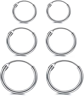 925 Sterling Silver Hoop Earrings for Women Men Cartilage, Hypoallergenic Tiny Huggie Hoop Earrings Jewelry 8mm 10mm 12mm 14mm