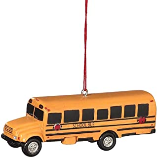 School Bus Resin Hanging Christmas Ornament - Size 3.75 in.