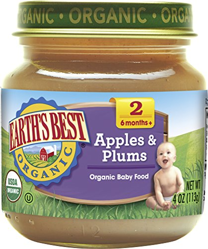 Earth's Best Organic Stage 2 Baby Food, Apples and Plums, 4 oz. Jar (Pack of 12)