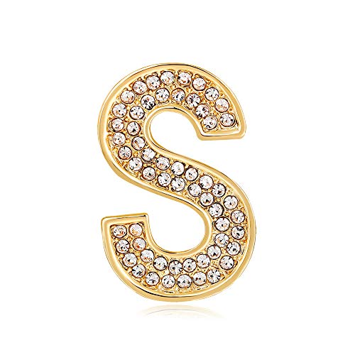 26 Initial Alphabet Letters Charms Monogram Enamel Lapel Badge Brooch Pin (S, Gold Tone)