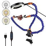 PinBoTronix - Manos flexibles de ayuda, 3 x LED de tercera mano con 11 colores...