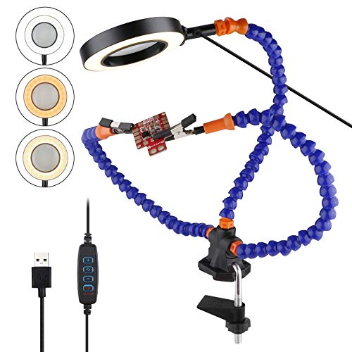 PinBoTronix Flexible helfende Hände, dritte Hand Löten, 3-fache LED-Lupenlampe mit 11 verstellbaren Lichtfarben (4,8 cm Klemmclip, 2 flexible Helfhände)