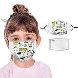 Lomelomme Mundschutz Kinder Baumwolle Cartoon Druck Verstellbarer Hängendes Ohr Staubschutz mit 2 Stück 3-Schicht-Filter, Atmungsaktive Waschbar Half Face Halstuch für Jungen und Mädchen (E)