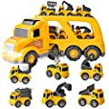 JOYIN 7PC Construction Transport Carrier Truck with 6 Construction Diecast Vehicle Toys, Car Toy Set with Light and Sounds, Friction Powered Play Vehicles and Car Carrier Trailer from Joyin Inc