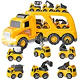 JOYIN 7PC Construction Transport Carrier Truck with 6 Construction Diecast Vehicle Toys, Car Toy Set with Light and Sounds, Friction Powered Play Vehicles and Car Carrier Trailer