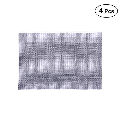 Vosarea 4 pcs Mantel Individual aislantes Lavables manteles de Mesa PVC Resistente al Calor manteles Individuales para Mesa de Comedor de Cocina (2015 fabricar, Gris)