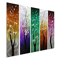 Pure Art Trees Through The Seasons - Contemporary Colourful Metal Wall Art - Purple Green Yellow Hanging Sculpture Set of 5 Square Panels - Tree Decoration of 34 x 24