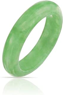 Simple Gemstone Eternity Stackable Dyed Green Jade Band Ring for Women for Teen August Birthstone