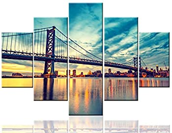 Native American Art Ben Cityscape Paintings Benjamin Franklin Bridge Pictures United States Contemporary Artwork 5 Pcs/Multi Panel Canvas Home Decor for Living Room Framed Ready to Hang 60  Wx40  H