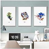 Simple Painting Splash Classic Game Mario Sonic Cartoon Canvas Art Print Poster Picture Decoration Home Decor -50x70cm x3pcs Sin marco