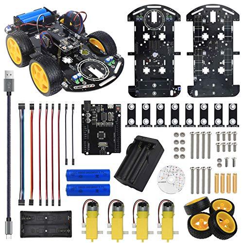 Smart Robot Car Chassis Kit per Arduino UNO R3 con Tutorial Tracciamento della linea ostacoli infrarossi evitate