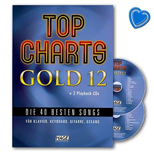 Top Charts Gold 12-40 besten Songs für Klavier, Keyboard, Gitarre und Gesang - Songbook mit 2 CDs und bunter herzförmiger Notenklammer