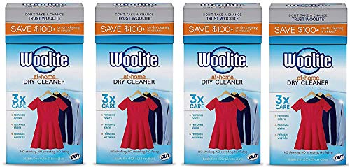 Woolite At-Home Dry Cleaner Dry Cleaning Cloths and Stain Removal, Easy to Use, Safe on Wool, Cashmere, and Designer Jeans, Fresh Scent, Pack of 4, 24 Cloths